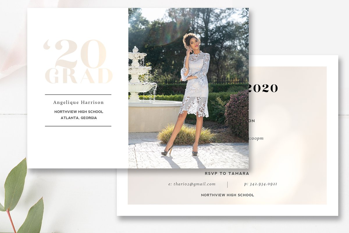 Gold Foil Grad Announcement PSD