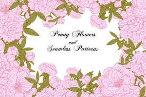 Peony Flowers + Seamless Patterns