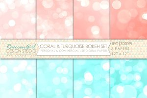 Coral & Turquoise Bokeh Papers