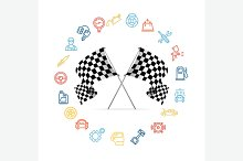 Car Icon Set and Checkered Flags
