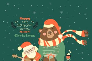 Santa Claus with funny bear