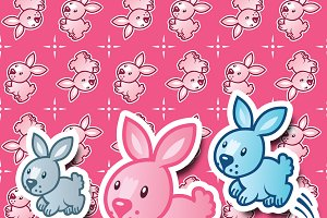 Bunnies Clipart and Bunnies pattern