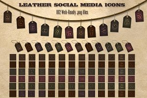 102 Dark Leather Social Media Icons