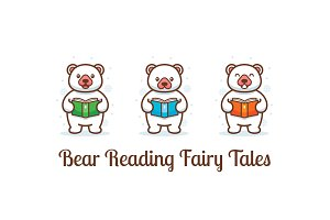 Bear reading fairy tales clipart