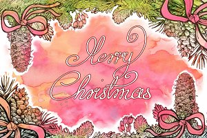 Printable Watercolor Christmas Card