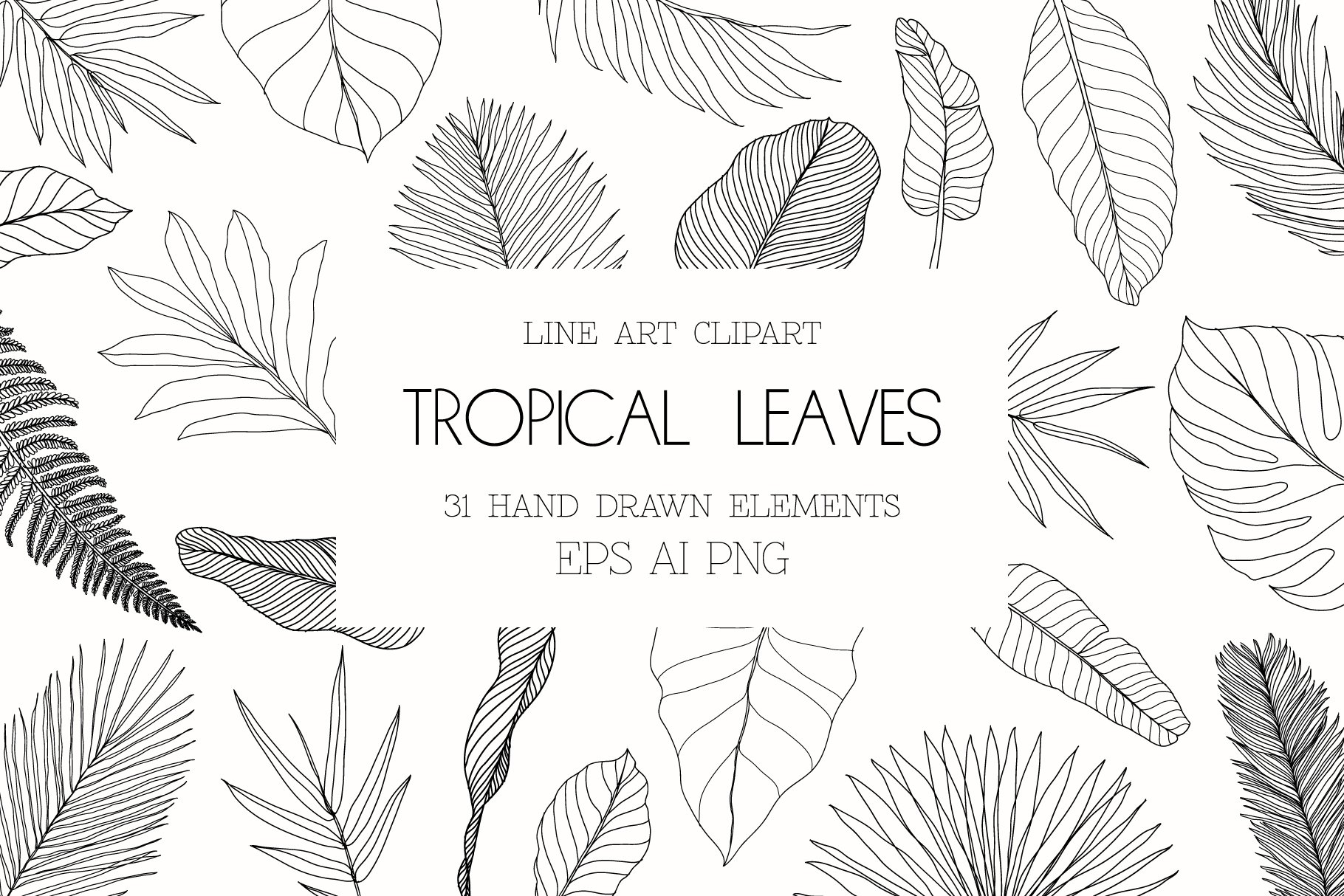 Line Art Tropical Leaves Clipart Pre Designed Photoshop Graphics Creative Market It's the tropical leaves earrings. line art tropical leaves clipart pre