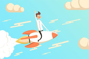 Businessman fly on rocket - success