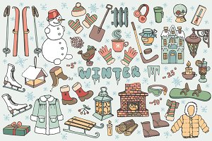 Winter season.Doodle elements 02
