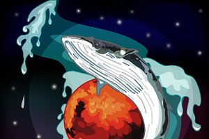 Realistic whale in space