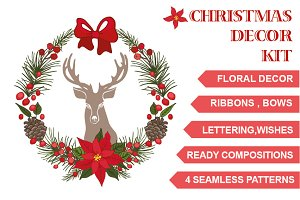 Christmas floral decor kit
