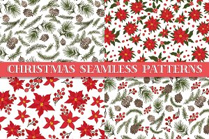 Christmas floral seamless patterns