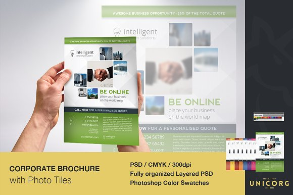 business brochure with photo tiles brochure templates creative