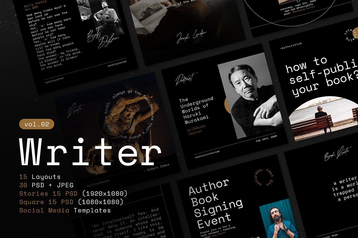 Writers Social Media Templates Vol.2