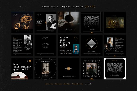 Writers Social Media Templates Vol.2 in Instagram Templates - product preview 3