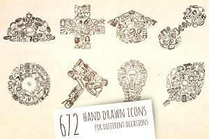672 Hand Drawn Icons + patterns