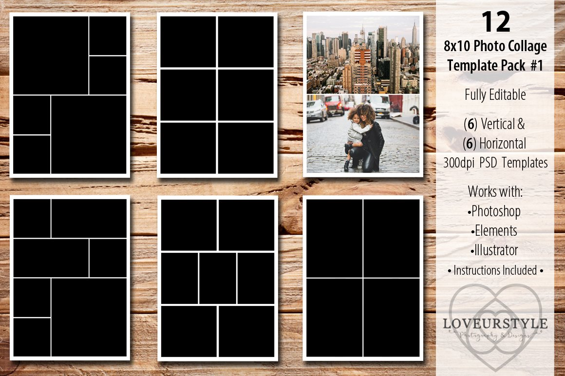 8x10 photo collage template pack 1 templates creative. Black Bedroom Furniture Sets. Home Design Ideas