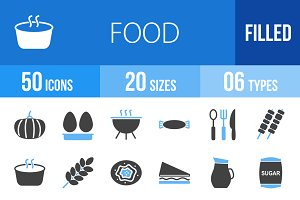 50 Food Blue & Black Icons