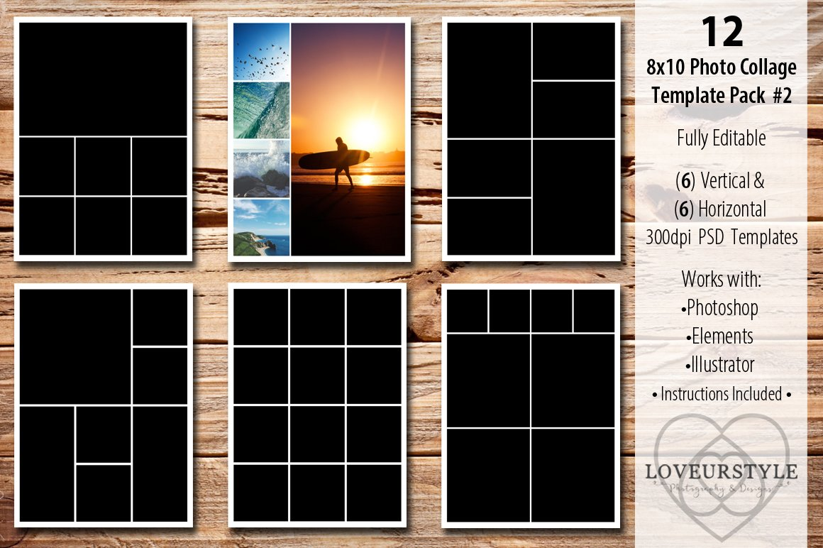 8x10 photo collage template pack 2 templates creative market. Black Bedroom Furniture Sets. Home Design Ideas