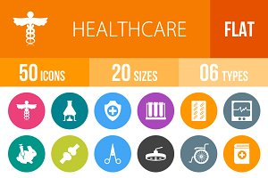 50 Healthcare Flat Round Icons