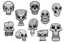 Cartoon human scary Halloween skulls