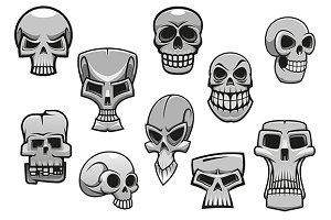 Cartoon human scary Halloween skulls