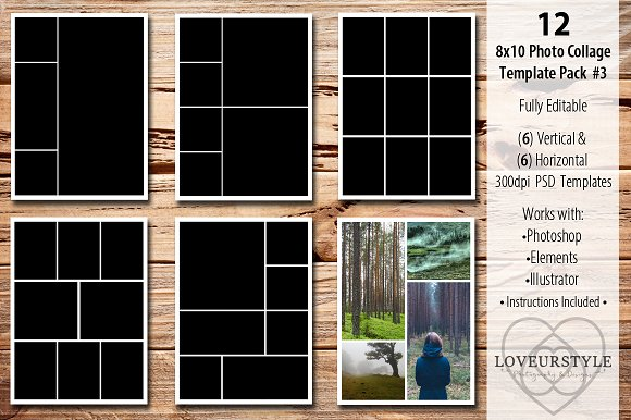 8x10 photo collage template pack 3 templates on creative market