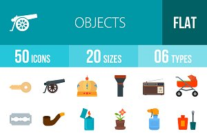 50 Objects Flat Multicolor Icons