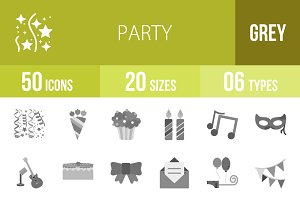 50 Party Greyscale Icons