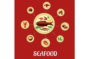 Seafood flat infographic design