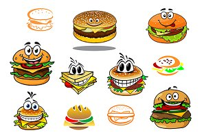 Happy takeaway cartoon hamburger cha