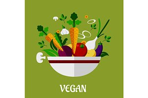 Colorful vegan poster with flat vege