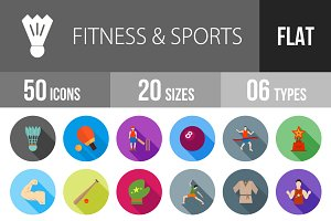 50 Fitness&Sport Flat Shadowed Icons