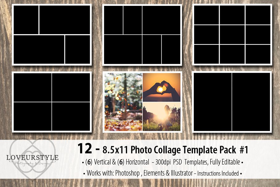 8 5x11 Photo Album Template Pack 2 Creative Photoshop Templates Creative Market