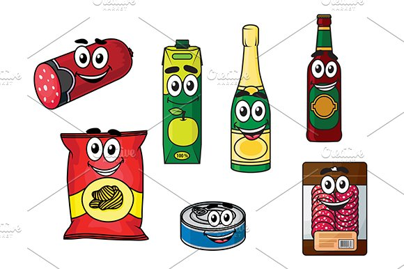 Supermarket groceries colored icons