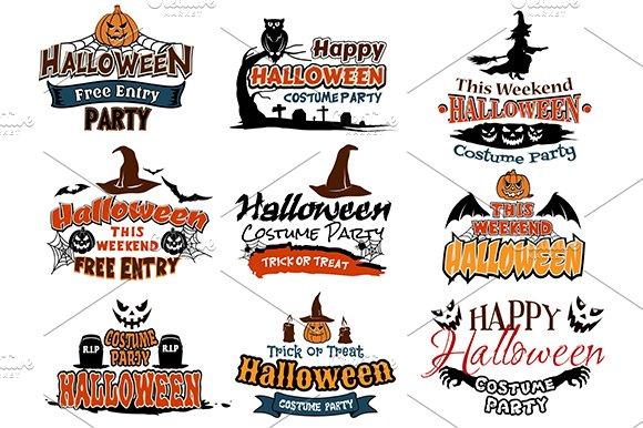 Colorful set of Happy Halloween desi