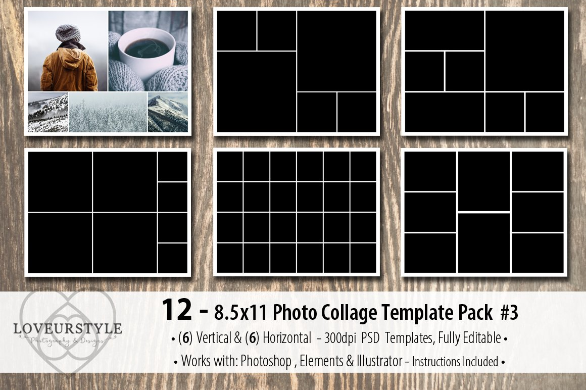 photo album template pack 3 templates creative market. Black Bedroom Furniture Sets. Home Design Ideas