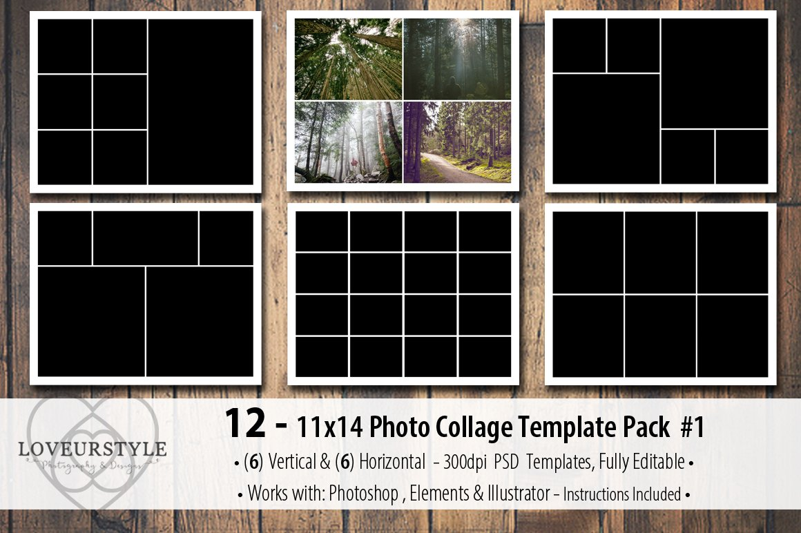 11x14 photo collage template pack 1 templates creative market. Black Bedroom Furniture Sets. Home Design Ideas