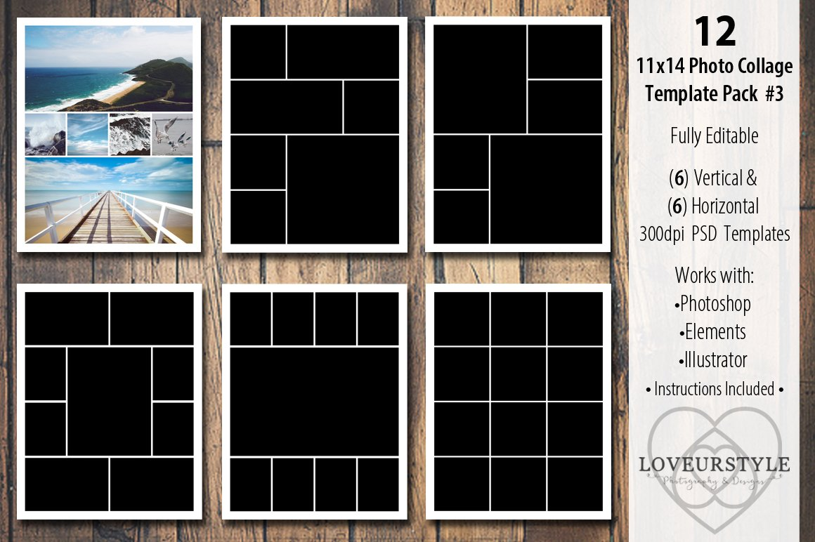 11x14 photo collage template pack 3 templates creative market. Black Bedroom Furniture Sets. Home Design Ideas