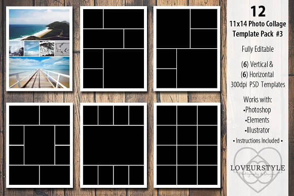 11x14 photo collage template pack 3 templates on creative market. Black Bedroom Furniture Sets. Home Design Ideas