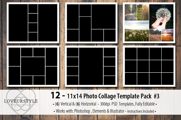 11x14 photo collage template pack 3 templates on creative market