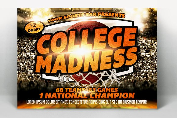 College Madness Basketball Flyer in Templates