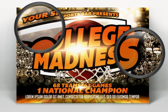 College Madness Basketball Flyer in Templates - product preview 1