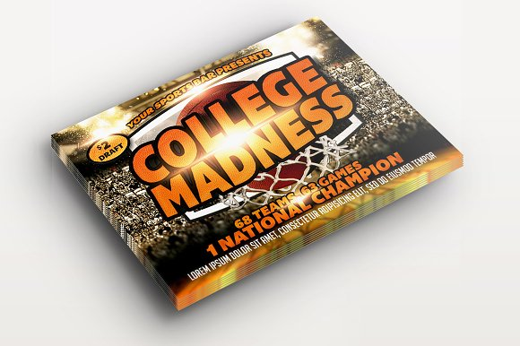 College Madness Basketball Flyer in Templates - product preview 2