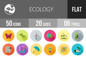 50 Ecology Flat Shadowed Icons