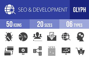 50 SEO & Development Glyph Icons
