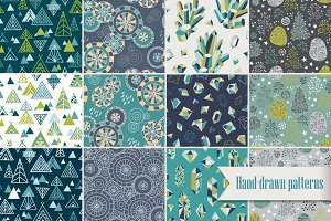 Hand-drawn seamless patterns