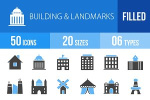 50 Buildings Blue & Black Icons