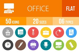 50 Office Flat Round Icons