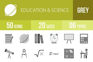 50 Education&Science Greyscale Icons