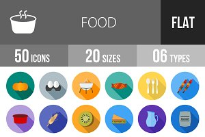 50 Food Flat Shadowed Icons